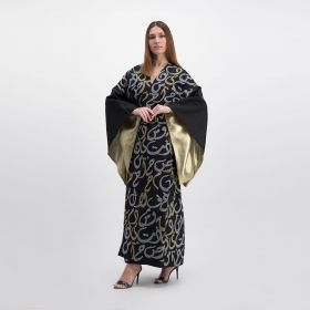 Linen Kaftan Embroidered With Gold & Silver Arabic Letters At Front - Black