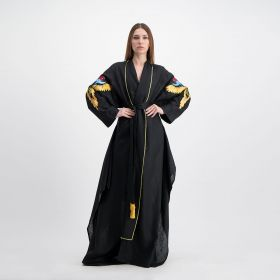 Linen Loose Kaftan With Birds Embroidery On The sleeves - Black