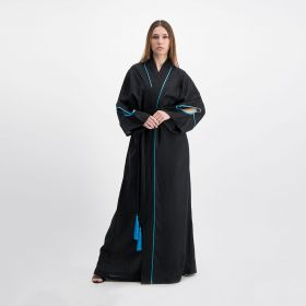 Linen Loose Kaftan With Eye Embroidery On The Back - Black