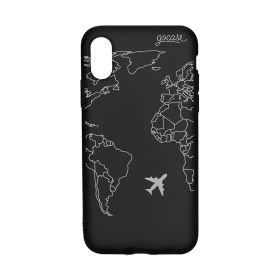 Royal Black World Map Lines Case - iPhone X/Xs