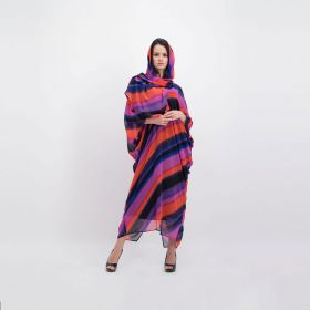 Chiffon Striped Kaftan - Colourful