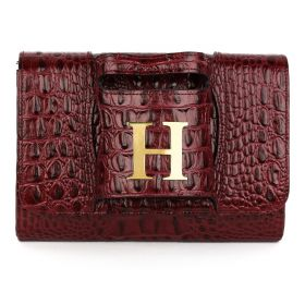 Sac Studio - Haidi Casual Burgundy Leather Clutch Bag with a Gold Plated Letter H