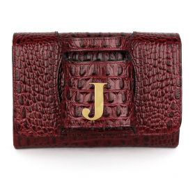 Sac Studio - Haidi Casual Burgundy Leather Clutch Bag with a Gold Plated Letter J