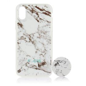 Focus Cases - White Marble with PopSocket Phone Case with Phone Grip - iPhone X
