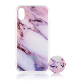 Focus Cases - Pink Marble with PopSocket Phone Case with Phone Grip - iPhone X