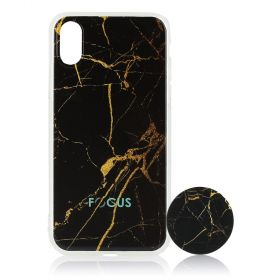 Focus Cases - Black / Gold Marble with PopSocket Phone Case with Phone Grip - iPhone X