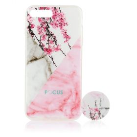 Focus Cases - Cherry Blossom / Marble with PopSocket Phone Case with Phone Grip - iPhone 6S+, 7+, 8+