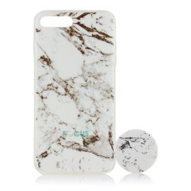 Focus Cases - White Marble with PopSocket Phone Case with Phone Grip - iPhone 7+, 8+
