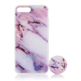 Focus Cases - Pink Marble with PopSocket Phone Case with Phone Grip - iPhone 7+, 8+