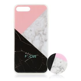Focus Cases - Black / White / Pink Marble with PopSocket Phone Case with Phone Grip - iPhone 7+, 8+