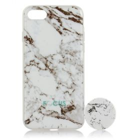 Focus Cases - White Marble with PopSocket Phone Case with Phone Grip - iPhone 7, 8
