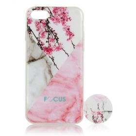 Focus Cases - Cherry Blossom / Marble with PopSocket Phone Case with Phone Grip - iPhone 7, 8
