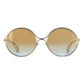Gucci -  Round Brown/Blue Gradient & Gold Sunglasses