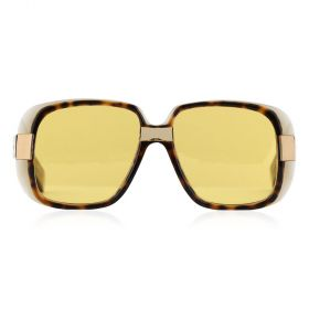 Gucci -  Rectangular Yellow & Havana Sunglasses