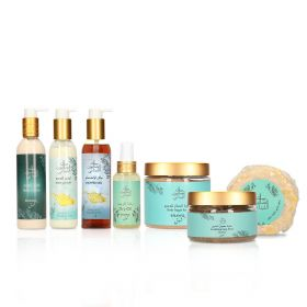 Bayt Saboun Ramadan Offer 5 - Shawq Line - Body Scrub,Body Lotion,Loofa Soap,Scrubbing Soap Paste,Dry Oil, Ginger & Lemon Body Lotion & Shower Gel